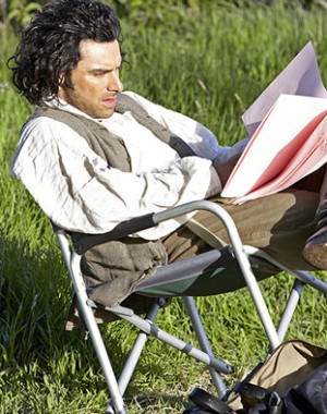 Aidan Turner as Captain Ross Poldark, behind the scenes