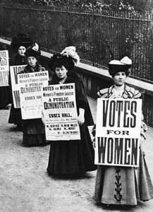 Great Britain, women's movement, suffragettes, announcement of a demonstration at Essex Hall, London