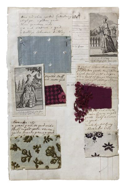 Album-with-textile-samples-and-fashion-plates,-compiled-by-Barbara-Johnson,-England,-1746-1823
